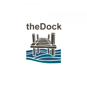 logo for the Dock coworking space in downtown victoria, a drawing of a dock over some water