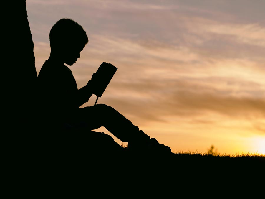 A child rests against a tree reading a book in twilight.