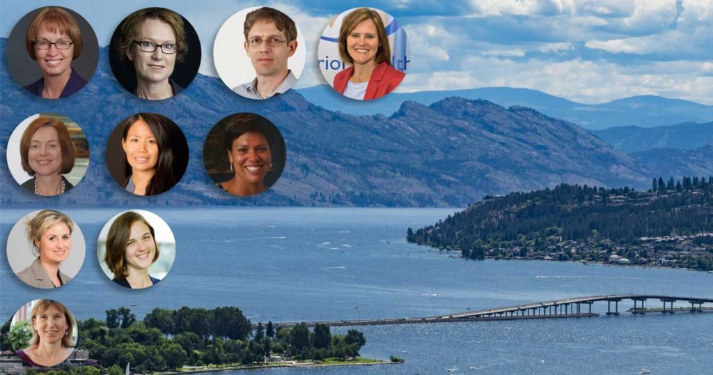 Several headshots of newly announced speakers overlaid on a background picture of Okanagan Lake in the summertime.