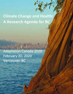 Climate Change and Health report cover image of a tree and Vancouver in the background.