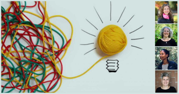 A spool of colourful yarn turns into a lightbulb, with speaker photos on top.